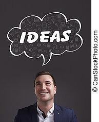 marketing., tecnología, pensamiento, about:, ideas, joven, internet, hombre de negocios, empresa / negocio