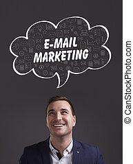 marketing., tecnología, pensamiento, about:, internet, joven, empresa / negocio, e-mail, mercadotecnia, hombre de negocios