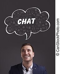 marketing., tecnología, pensamiento, about:, joven, empresa / negocio, charla, internet, hombre de negocios