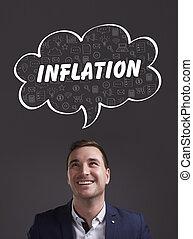 marketing., tecnología, pensamiento, about:, joven, empresa / negocio, inflación, internet, hombre de negocios