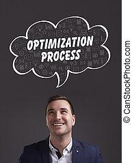 marketing., tecnología, pensamiento, about:, joven, empresa / negocio, proceso, optimization, internet, hombre de negocios