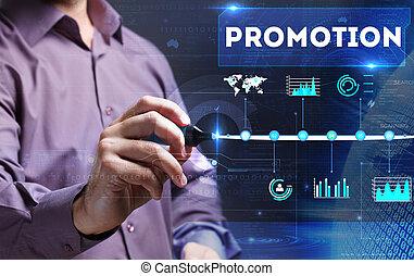 marketing, tecnologia, negócio, jovem, escrita,  Internet, promoção, homem,  word: