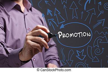 marketing., tecnologia, negócio, jovem, escrita, internet, promoção, homem, word: