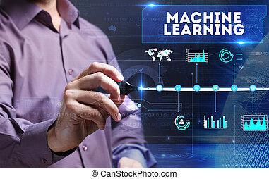 marketing., tecnologia, negócio, jovem, máquina, pessoa, aprendizagem, internet, vê, word: