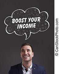marketing., tecnologia, pensando, about:, internet, jovem, negócio, renda, homem negócios, impulso, seu