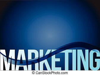 marketing text blue wave background
