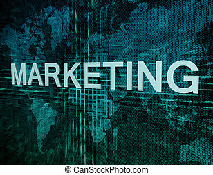 Marketing text concept on green digital world map background...