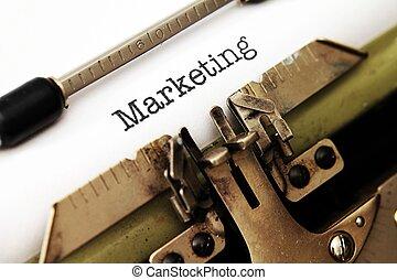 Marketing text on typewriter