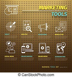Marketing Tools on Brown Pegboard with icons set