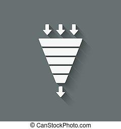 marketing, trechter, symbool