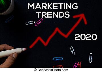 Marketing Trends 2020 write on black board background.