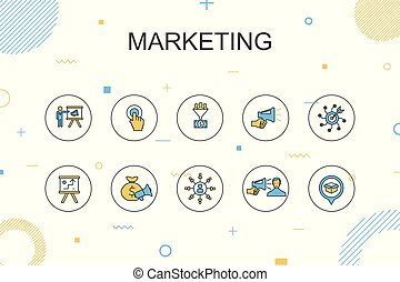marketing trendy Infographic template. Thin line design with call to action, promotion, marketing plan, marketing strategy