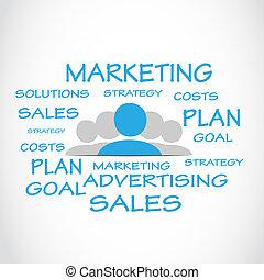 marketing, vendas, palavra, nuvem