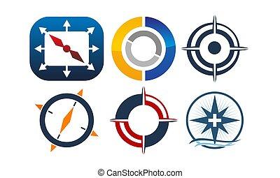 marketing, verdeling, set, zakelijk, kompas