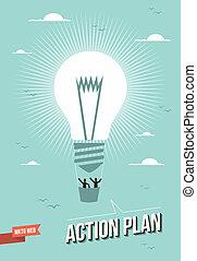 Marketing web action plan light bulb illustration