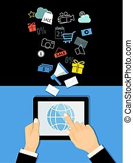 marketing with tablet and icons