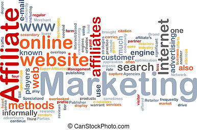 marketing, woord, affiliate, wolk