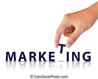 marketing, woord, hand