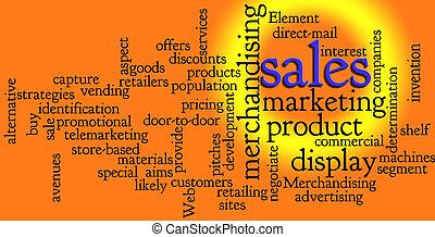 marketing, woord, omzet, wolk