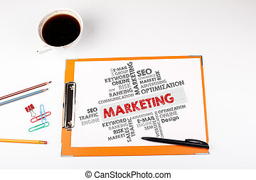 Marketing word cloud, Business concept. Office desk with stationery