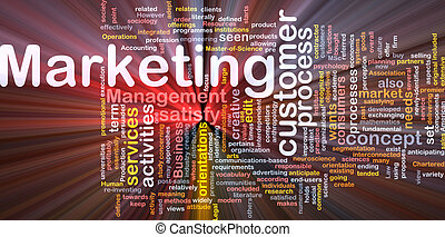 Marketing word cloud glowing - Word cloud concept...