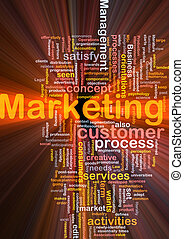 Marketing word cloud glowing