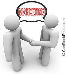 Marketing Word Handshake Speech Bubble Salespeople