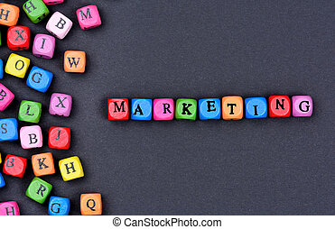 Marketing word on black background