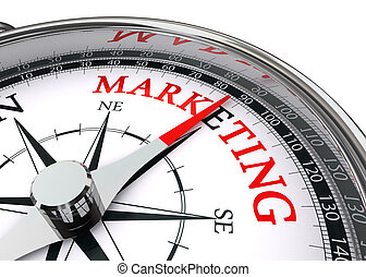 marketing word on conceptual compass isolated on white ...
