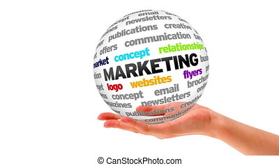Marketing Word Sphere - A person holding a 3D Marketing...