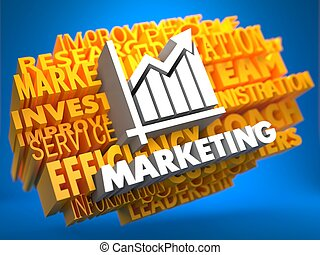 Marketing. Wordcloud Concept. - Marketing with Growth Chart...