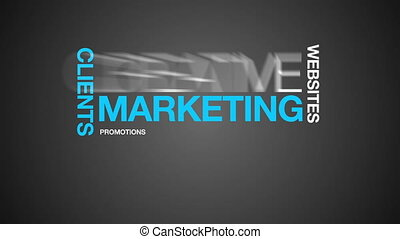 marketing, wort, wolke, animation