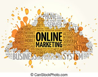 marketing, wort, wolke, online