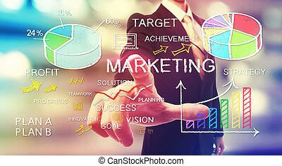 marketing, zakenman, zakelijk, wijzende, concepten