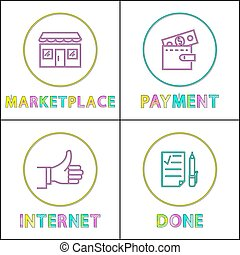 Marketplace and payment set vector illustration -...