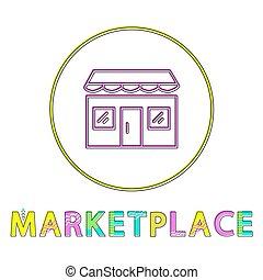 Marketplace Color Minimalist Thin Line Design Icon -...