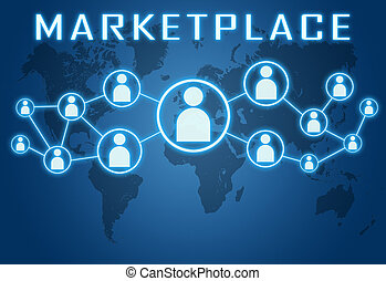 Marketplace concept on blue background with world map and social icons.