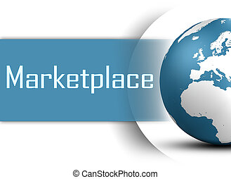 Marketplace concept with globe on white background