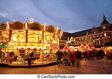 Marketplace in Altstadt - Carousel at Christmas market on ...