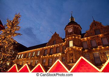 Christmas market and Altstadt town hall in Dusseldorf