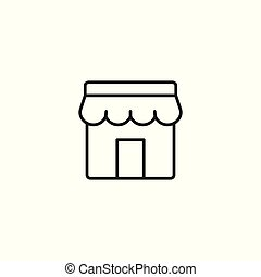 marketplace line icon, store facade on white background -...