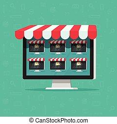 Marketplace online store vector illustration, flat cartoon...