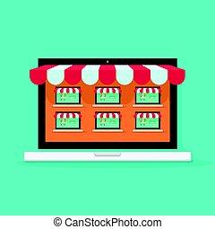 Marketplace online vector illustration, internet multivendor...