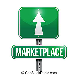 marketplace street sign illustration design