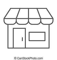 Marketplace thin line icon, shop and store, market sign,...