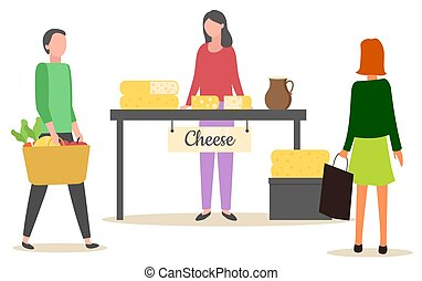 Marketplace with Dairy Product, Cheese Vector - Female ...