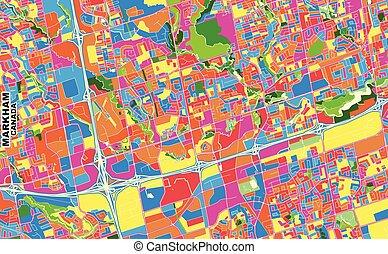 Markham, Ontario, Canada, colorful vector map