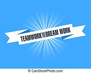 marki, praca, jasny, teamwork, sen, wstążka