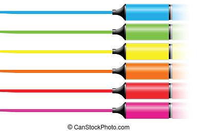 markier, różny, kolor, pióra, kreska