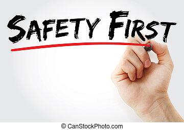 markier, ręka, bezpieczeństwo pierwsze, pisanie